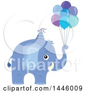 Cute Blue Boy Elephant With Birthday Party Balloons
