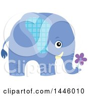 Clipart Of A Cute Blue Boy Elephant Holding A Flower Royalty Free Vector Illustration