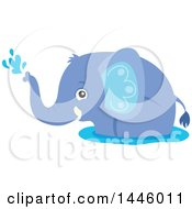 Clipart Of A Cute Blue Boy Elephant Playing In Water Royalty Free Vector Illustration