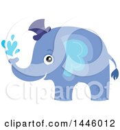 Clipart Of A Cute Blue Boy Elephant Squirting Water Royalty Free Vector Illustration