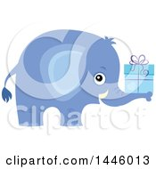Clipart Of A Cute Blue Boy Elephant Holding A Gift Royalty Free Vector Illustration