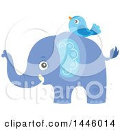 Clipart Of A Cute Blue Boy Elephant With A Bird Royalty Free Vector Illustration