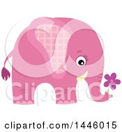 Clipart Of A Cute Pink Girl Elephant Holding A Flower Royalty Free Vector Illustration