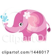 Clipart Of A Cute Pink Girl Elephant Squirting Water Royalty Free Vector Illustration