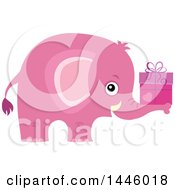 Clipart Of A Cute Pink Girl Elephant Holding A Gift Royalty Free Vector Illustration