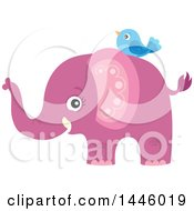 Clipart Of A Cute Pink Girl Elephant With A Blue Bird Royalty Free Vector Illustration