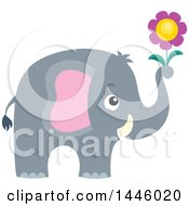 Poster, Art Print Of Cute Gray Elephant Holding A Flower