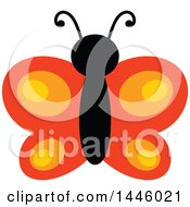 Clipart Of A Flying Orange Butterfly Royalty Free Vector Illustration