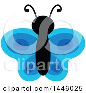 Clipart Of A Blue Butterfly Royalty Free Vector Illustration