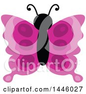 Clipart Of A Pink Butterfly Royalty Free Vector Illustration