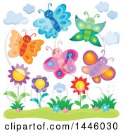Clipart Of A Group Of Happy Spring Butterflies Over Flowers Royalty Free Vector Illustration by visekart