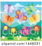 Group Of Happy Butterflies Over Spring Flowers
