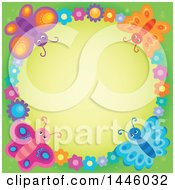Round Colorful Flower And Butterfly Frame Over Green