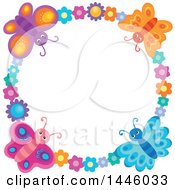 Clipart Of A Round Colorful Flower And Butterfly Frame Royalty Free Vector Illustration