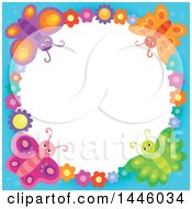 Round Colorful Flower And Butterfly Frame With Blue Edges