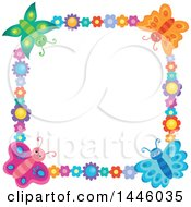 Clipart Of A Square Colorful Flower And Butterfly Frame Royalty Free Vector Illustration