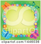 Poster, Art Print Of Square Colorful Flower And Butterfly Frame Over Green