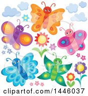 Clipart Of A Group Of Happy Butterflies And Flowers Royalty Free Vector Illustration