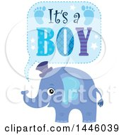 Clipart Of A Cute Blue Elephant With Its A Boy Text Royalty Free Vector Illustration