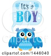 Clipart Of A Blue Owl With Gender Reveal Its A Boy Text Royalty Free Vector Illustration