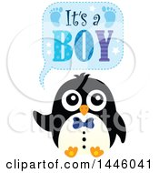 Clipart Of A Penguin With Gender Reveal Its A Boy Text Royalty Free Vector Illustration