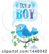 Clipart Of A Blue Bird On A Branch With Gender Reveal Its A Boy Text Royalty Free Vector Illustration