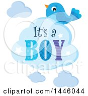 Clipart Of A Blue Bird With Gender Reveal Its A Boy Text On A Cloud Royalty Free Vector Illustration