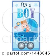 Clipart Of A Baby In A Stroller With Gender Reveal Its A Boy Text Royalty Free Vector Illustration by visekart