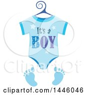 Clipart Of A Blue Onesie With Gender Reveal Its A Boy Text And Footprints Royalty Free Vector Illustration