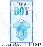Clipart Of A Blue Onesie With Gender Reveal Its A Boy Text And Footprints And Stars Royalty Free Vector Illustration by visekart