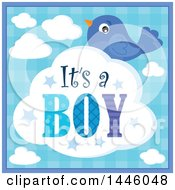 Clipart Of A Blue Bird With Gender Reveal Its A Boy Text On A Cloud Voer Plaid Royalty Free Vector Illustration