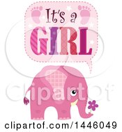 Clipart Of A Cute Pink Elephant With Its A Girl Text Royalty Free Vector Illustration