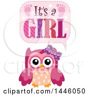 Clipart Of A Pink Owl With Gender Reveal Its A Girl Text Royalty Free Vector Illustration by visekart