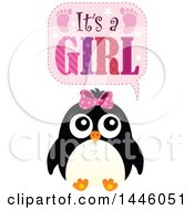 Clipart Of A Penguin With Gender Reveal Its A Girl Text Royalty Free Vector Illustration