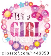 Clipart Of A Round Flower And Butterfly Frame Around Gender Reveal Its A Girl Text Royalty Free Vector Illustration