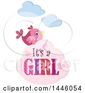 Clipart Of A Pink Bird With Gender Reveal Its A Girl Text On A Cloud Royalty Free Vector Illustration