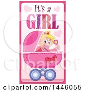 Clipart Of A Caucasian Baby Girl In A Stroller With Gender Reveal Its A Girl Text Royalty Free Vector Illustration