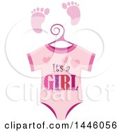 Clipart Of A Pink Onesie With Gender Reveal Its A Boy Text And Footprints Royalty Free Vector Illustration