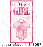Clipart Of A Pink Onesie With Gender Reveal Its A Boy Text And Footprints And Hearts Royalty Free Vector Illustration