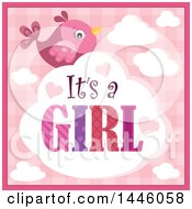 Clipart Of A Pink Bird With Gender Reveal Its A Girl Text On A Cloud Over Plaid Royalty Free Vector Illustration by visekart