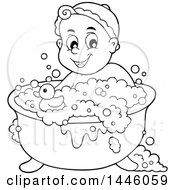 Clipart Of A Black And White Lineart Happy Baby Bathing In A Tub With A Rubber Duck Royalty Free Vector Illustration