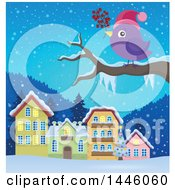 Purple Bird Holding Berries On A Tree Branch Against A Winter Village