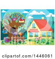 Clipart Of A Spring Time Yard And House With Busy Birds In A Tree Royalty Free Vector Illustration