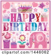 Clipart Of A Happy Birthday Greeting And Icons With A Pink Elephant Royalty Free Vector Illustration