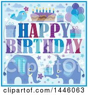 Clipart Of A Happy Birthday Greeting And Icons With Blue Elephants Royalty Free Vector Illustration