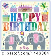 Poster, Art Print Of Happy Birthday Greeting And Icons With Gray Elephants