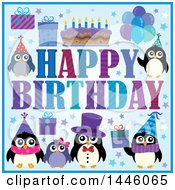 Poster, Art Print Of Happy Birthday Greeting With A Cake Gifts And Party Penguins
