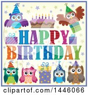 Happy Birthday Greeting With A Cake Gifts And Party Owls