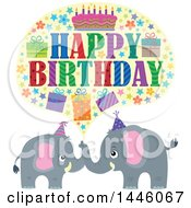 Poster, Art Print Of Happy Birthday Greeting With Icons Over Gray Elephants