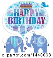 Happy Birthday Greeting And Bird Over Blue Elephants